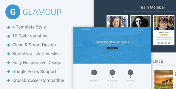 Glamour - Corporate One Page HTML5 Template