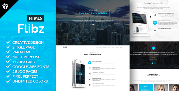 Flibz - One Page Parallax HTML5 Template
