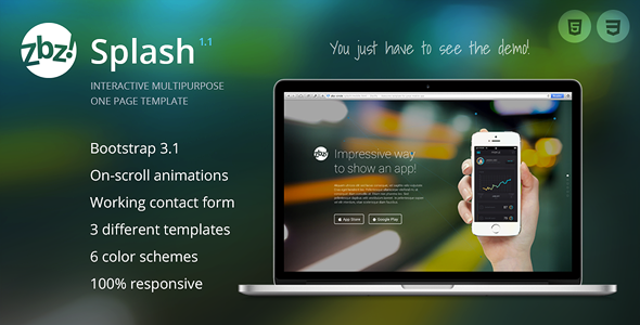 Zbz! Splash — Interactive One-Page Template