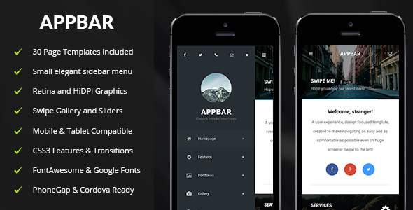 AppBar | Mobile & Tablet Responsive Template