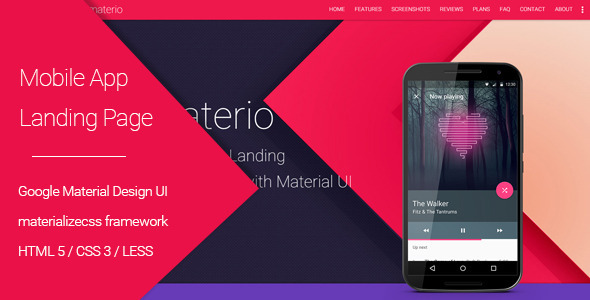 Materio - Material Design Mobile App Landing Page
