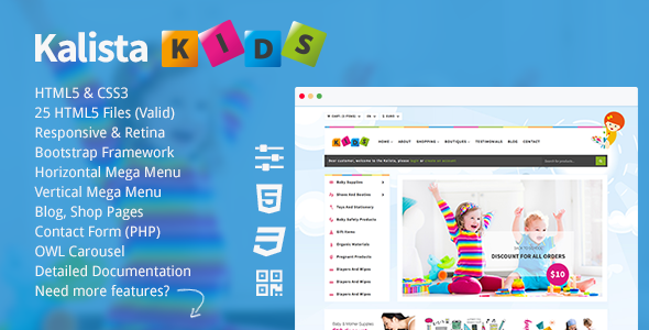 Kalista - Kids, Toys Store Responsive Site Template