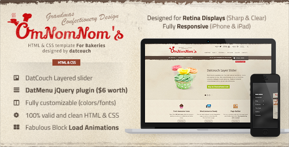 Omnomnom's - Bakeries HTML Template
