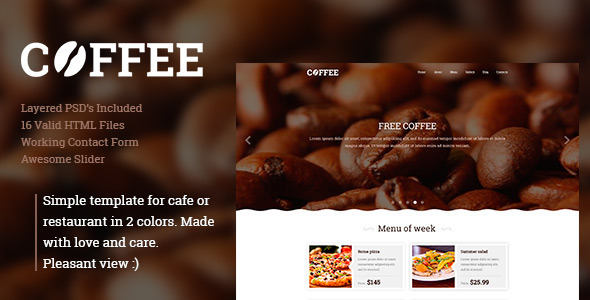 Coffee -  Responsive Restaurant Cafe Site Template