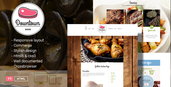 Downtown - Restaurant HTML Template