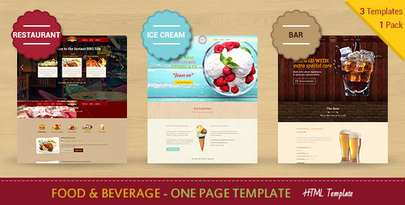 Food & Beverages One Page HTML5 Template