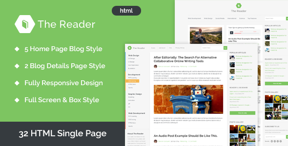 The Reader Minimal Blog HTML Template