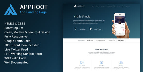 Apphoot - Responsive App Landing Page Template
