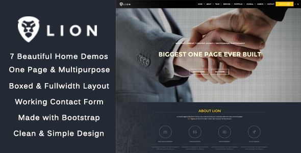 Lion - One Page - Multipurpose HTML Theme