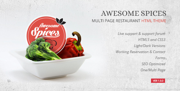 Awesome Spice - Restaurant / Cafe HTML Template